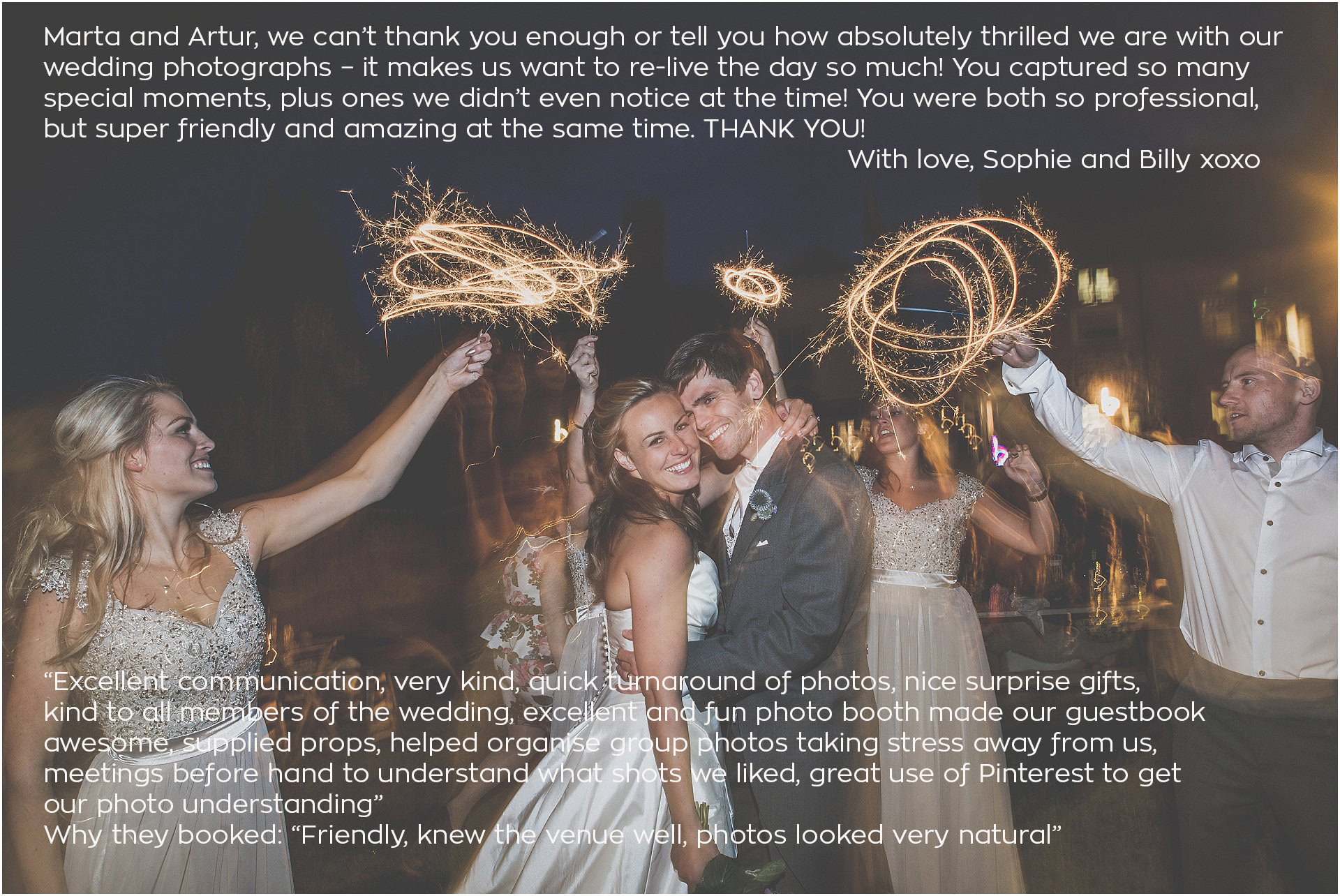 Sparklers wedding photographer Marta May Photography