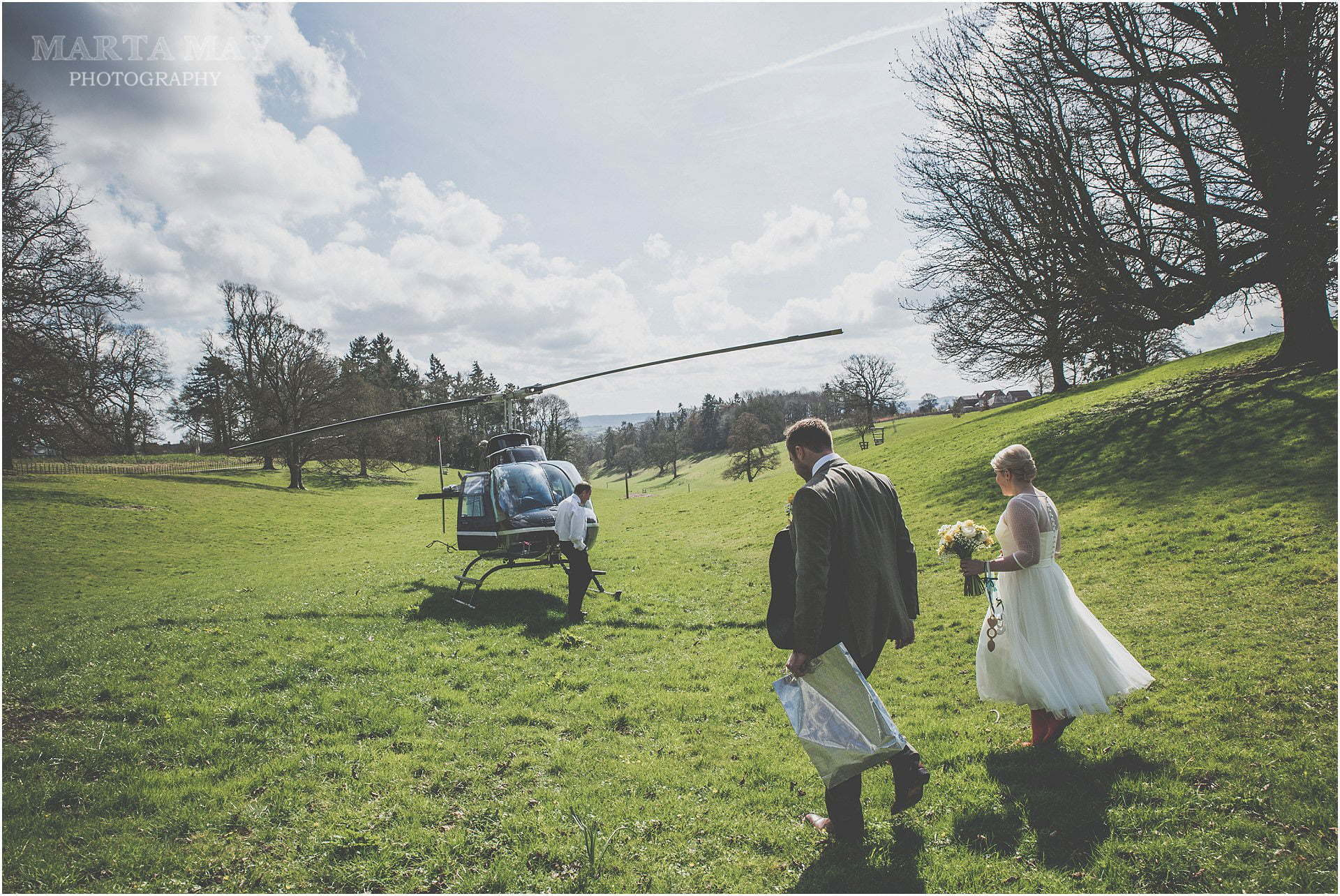 different wedding transport idea helicopter