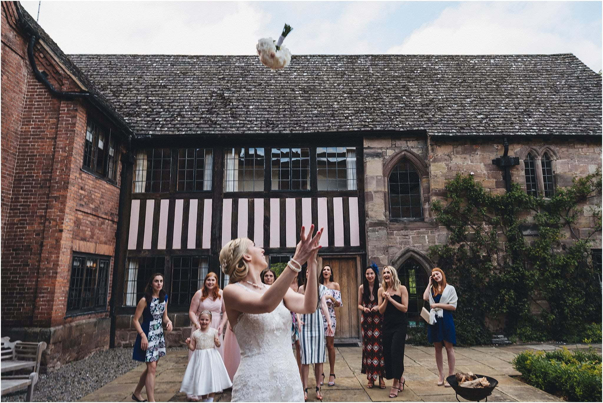 bouquet toss Brinsop courtyard