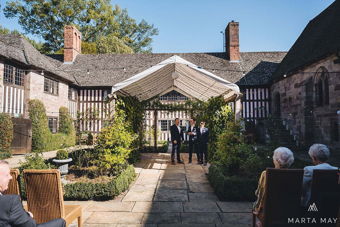 brinsop courtyard wedding ceremony groom