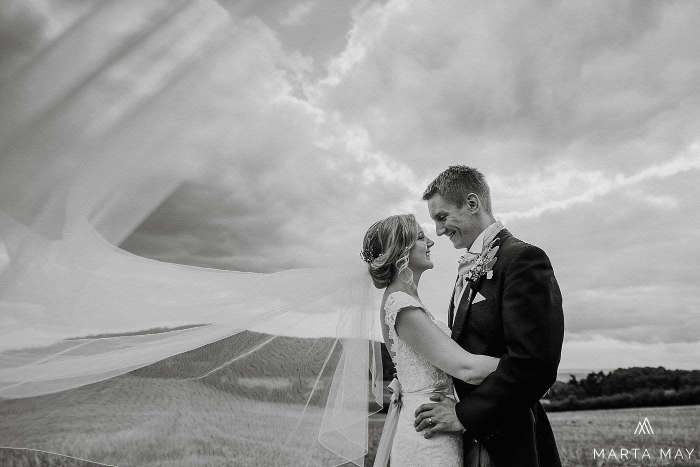 Romantic Brinsop Court wedding couple