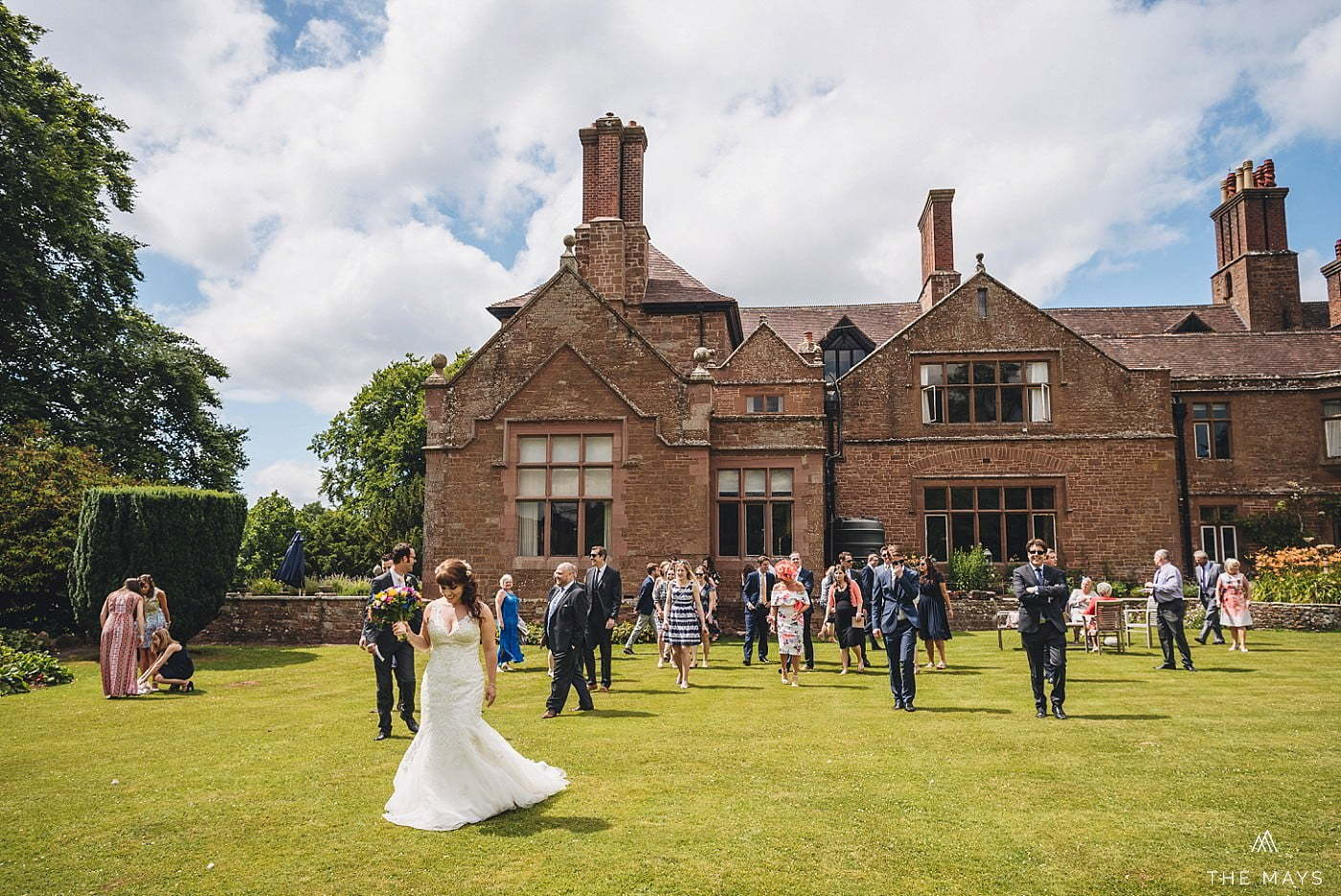 wedding guests and bride