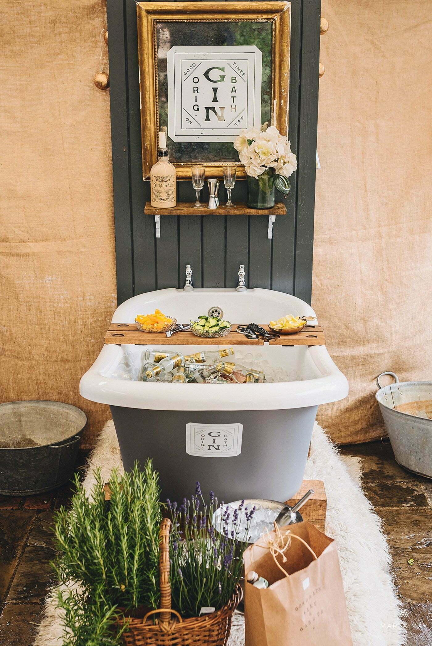 gin bath marquee wedding