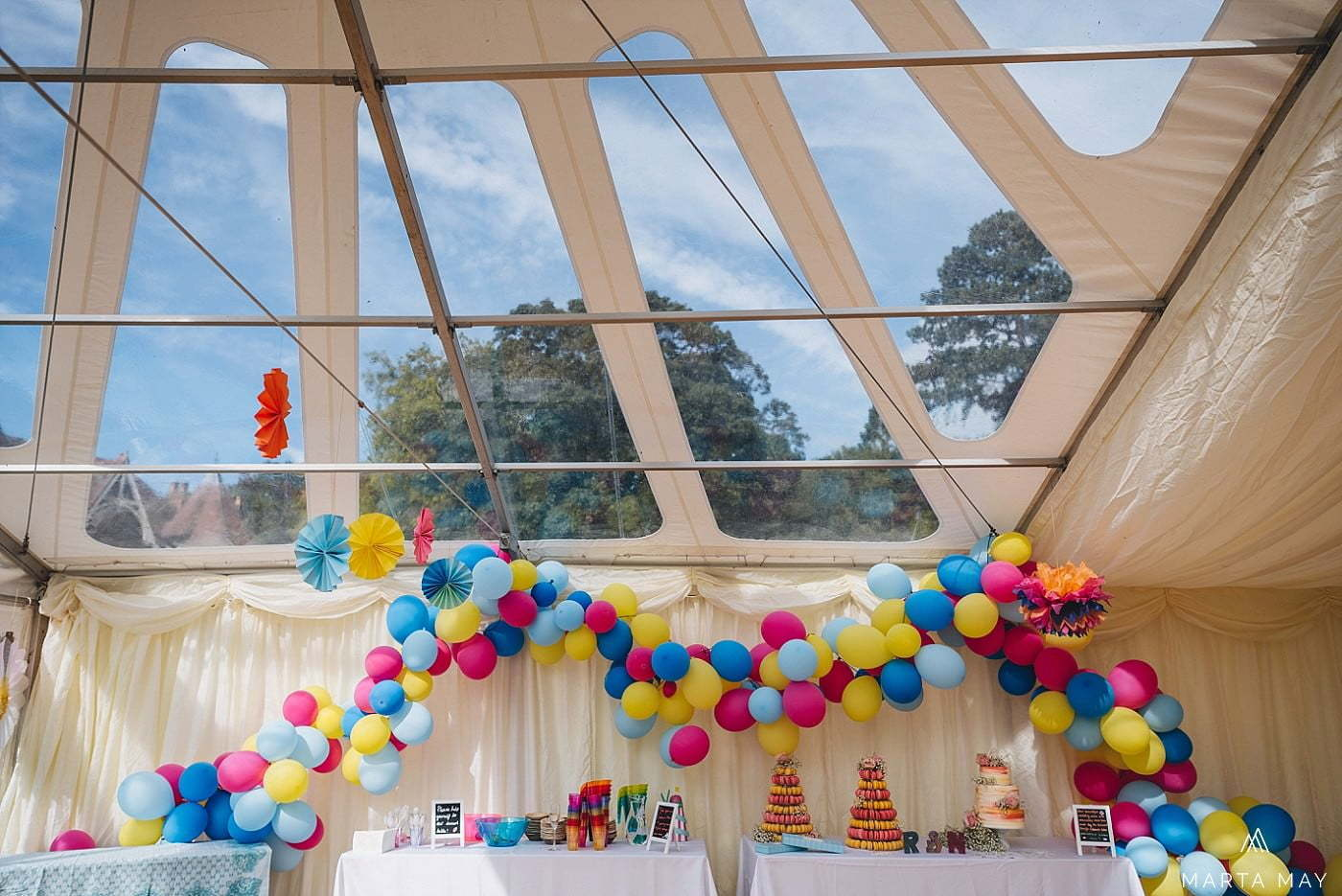 colourful marquee wedding with street food