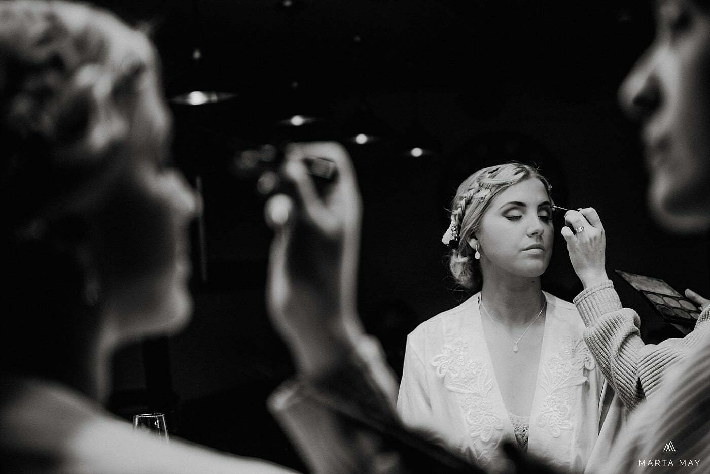 bride getting ready The Mill Barns