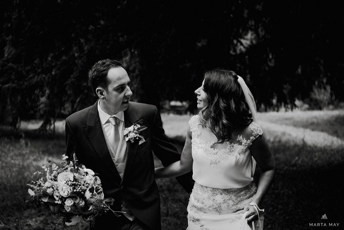 bride and groom at Walcot Hall